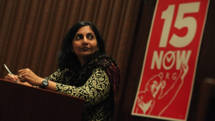 Who: Kshama Sawant and people at the rally.